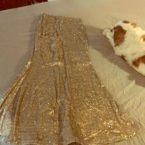 Sequence long gold mermaid skirt